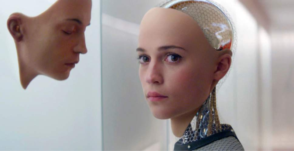 """In this image released by A24 Films, Alicia Vikander portrays Ava, a pretty-faced android with a killer instinct, in a scene from """"Ex Machina."""" Filmmakers have long projected that artificial intelligence could spell the end of humanity. """"Prometheus"""" director Ridley Scott, who further explores the cunning side of artificial intelligence in his new """"Alien: Covenant,"""" says, """"If you're going to use something that's smarter than you are, that's when it starts to get dangerous."""" (A24 Films via AP)"""