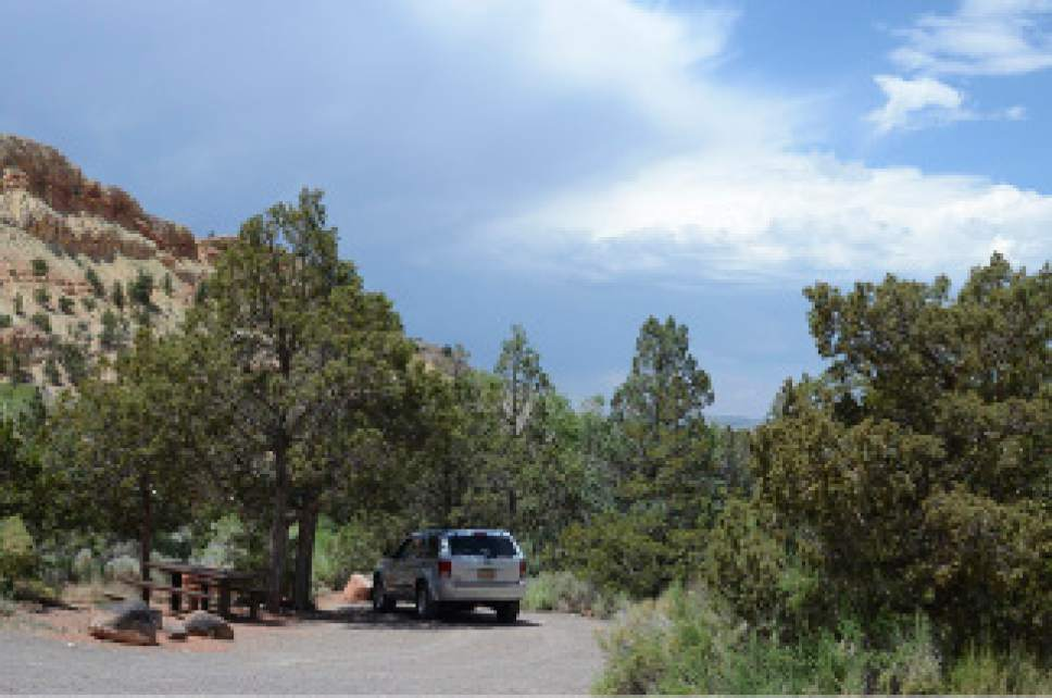 Sunglow Campground is a U.S. Forest Service Campground in a red rock box canyon near Bicknell, Utah. Courtesy of U.S. Forest Service
