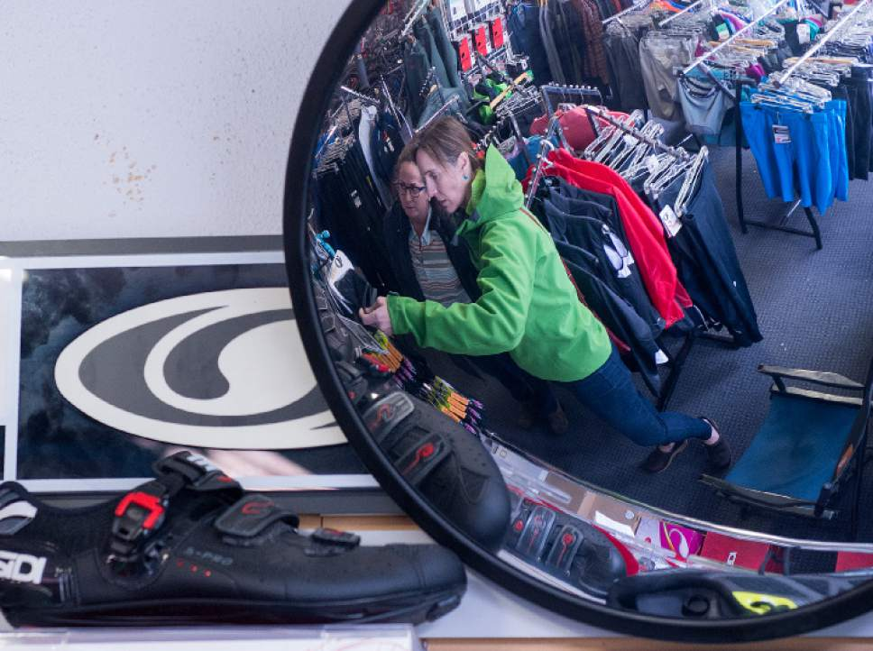 Leah Hogsten  |  The Salt Lake Tribune A steady stream of customers perused the items for sale at Wild Rose Sports, Wednesday, May 17, 2017 after it was announced that the store will be closing.   After 32 years in business, Tim Metos is closing Wild Rose Sports, a small shop in the Avenues that provided custom mountain bikes and Nordic skiing products.