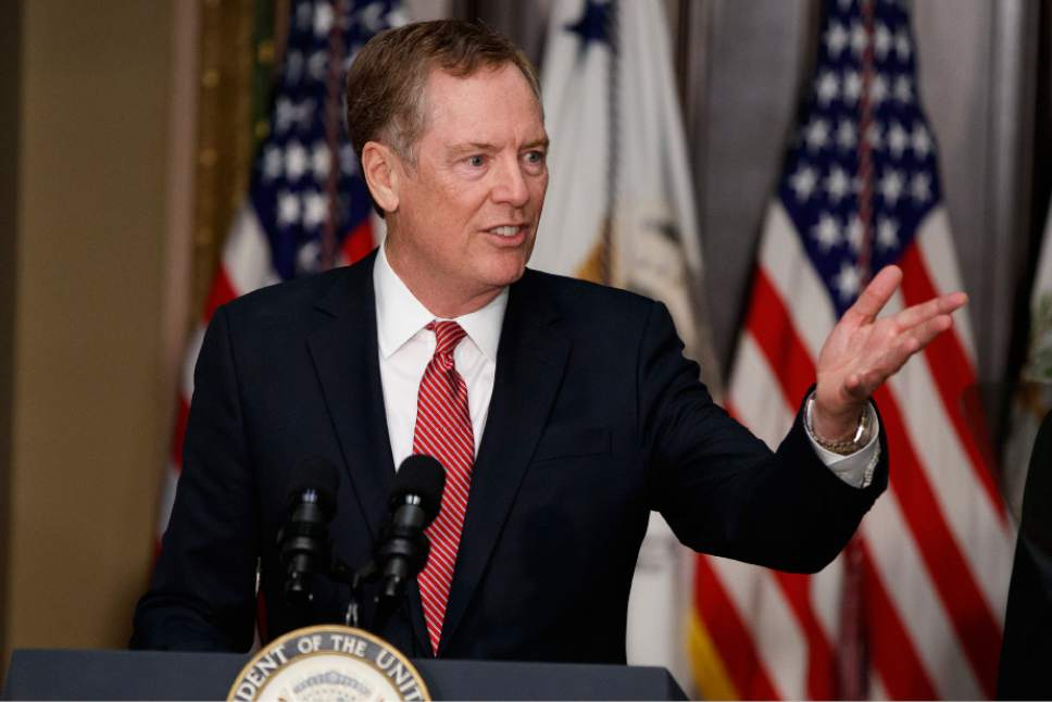 FILE- In this Monday, May 15, 2017, photo, U.S. Trade Representative Robert Lighthizer speaks in the Eisenhower Executive Office Building on the White House complex in Washington during his swearing-in ceremony. Lighthizer sent a letter to congressional leaders on Thursday, May 18, starting 90 days of consultations with lawmakers over how to revamp the North American Free Trade Agreement with Canada and Mexico. (AP Photo/Evan Vucci, File)