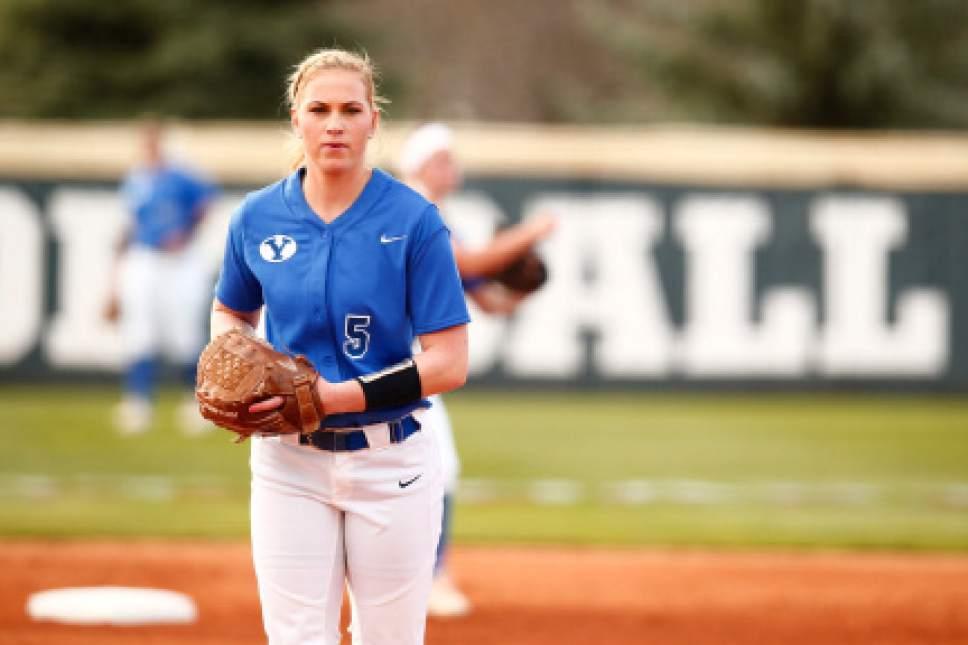 Jaren Wilkey  |  BYU  BYU pitcher McKenna Bull in action against LMU on April 8, 2016.