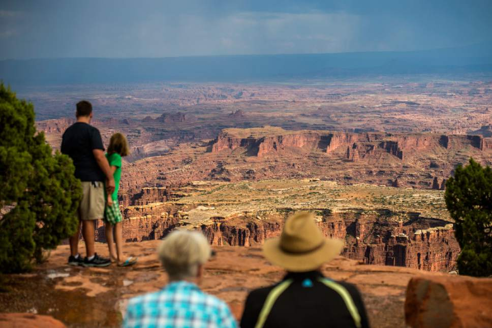 Chris Detrick  |  The Salt Lake Tribune Visitors look at Grand View Point in the Island in the Sky District at Canyonlands National Park Wednesday August 24, 2016.