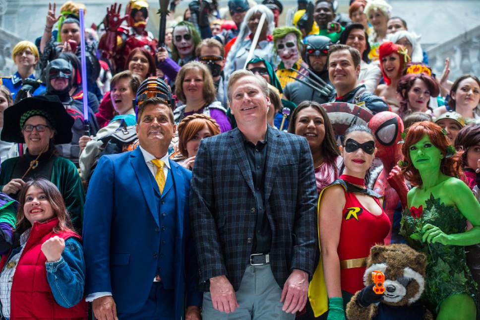 Chris Detrick  |  The Salt Lake Tribune Bryan Brandenburg, Dan Farr and cosplayers pose for photos during a press conference for Salt Lake Comic Con at the Utah State Capitol Wednesday, May 17, 2017.