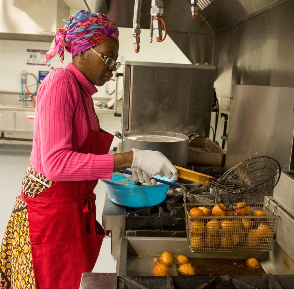 Rick Egan  |  The Salt Lake Tribune  Cathy Tshilombo, owner of Mama Africa Kitoko, seen here in 2015, will serve foods from the Democratic Republic of the Congo, during the 2017 Living Traditions Festival in Salt Lake City.