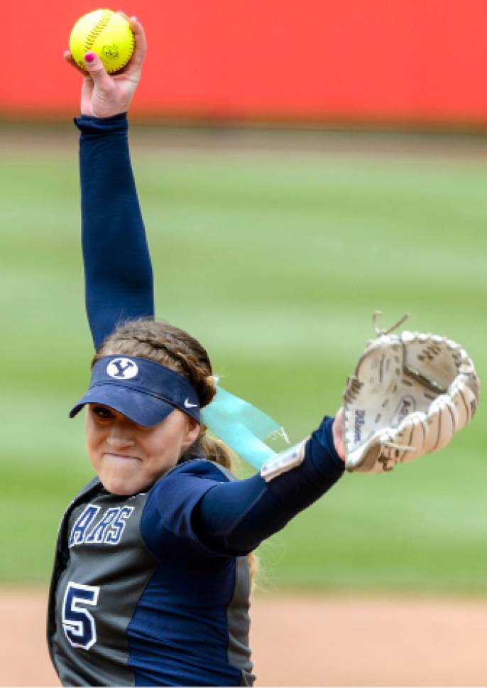 Steve Griffin     The Salt Lake Tribune    BYU pitcher McKenna Bull fires a pitch during the NCAA softball regional against Utah at Dumke Family Field at the U. of U. in Salt Lake City Friday May 19, 2017.