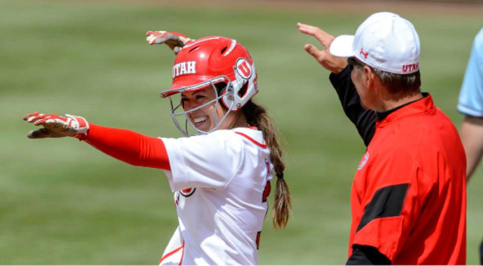 Steve Griffin     The Salt Lake Tribune    Utah's Bridget Castro smiles and gestures to her bench after ripping a lead-off single in the seventh inning which started the Utah come back during the NCAA softball regional game against BYU at Dumke Family Field at the U. of U. in Salt Lake City Friday May 19, 2017.