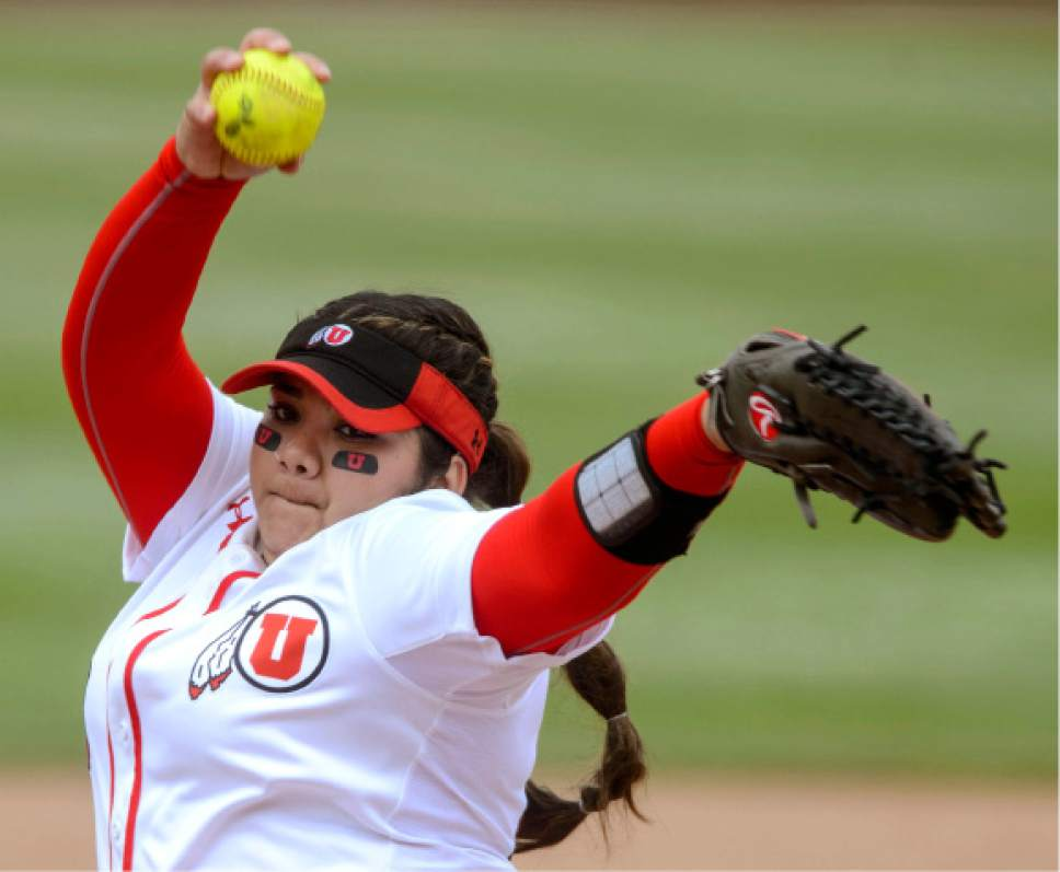 Steve Griffin     The Salt Lake Tribune    Utah pitcher Miranda Viramontes fires a pitch during the NCAA softball regional game against BYU at Dumke Family Field at the U. of U. in Salt Lake City Friday May 19, 2017.