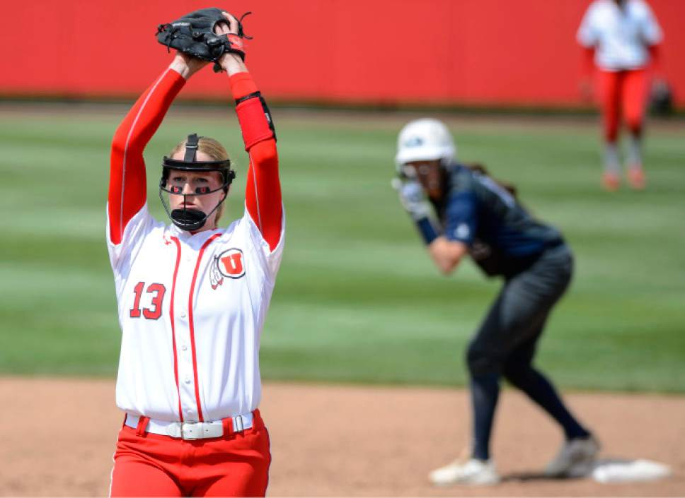 Steve Griffin     The Salt Lake Tribune    Utah pitcher Katie Donovan throws a pitch during the NCAA softball regional game against BYU at Dumke Family Field at the U. of U. in Salt Lake City Friday May 19, 2017.