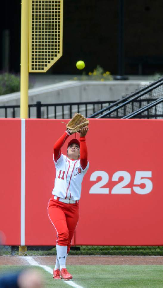 Steve Griffin     The Salt Lake Tribune    Utah left fielder Kay Kay Fronda gets under a long fly ball for an out during the NCAA softball regional game against BYU at Dumke Family Field at the U. of U. in Salt Lake City Friday May 19, 2017.