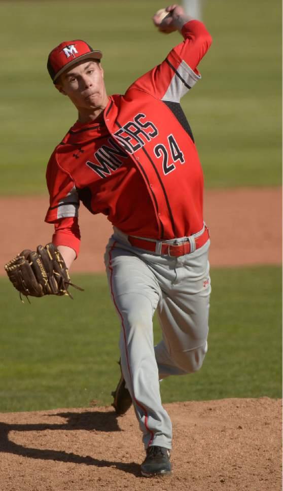 Leah Hogsten  |  The Salt Lake Tribune Park City pitcher Joshua Lansky. Dixie High School boys' baseball team defeated Park City High School 19-1 during their Class 3A baseball state semifinal at Brent Brown Ballpark, Friday, May 19, 2017.