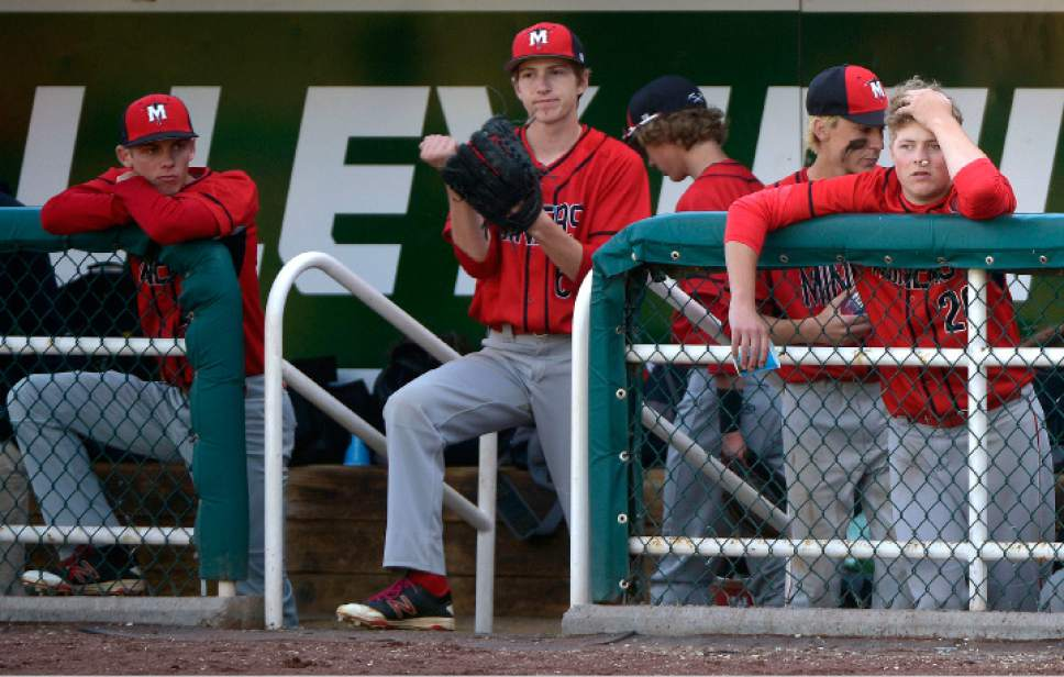 Leah Hogsten  |  The Salt Lake Tribune Park City reacts to Dixie's runs in the second inning that left them down by 10. Dixie High School boys' baseball team defeated Park City High School 19-1 during their Class 3A baseball state semifinal at Brent Brown Ballpark, Friday, May 19, 2017.