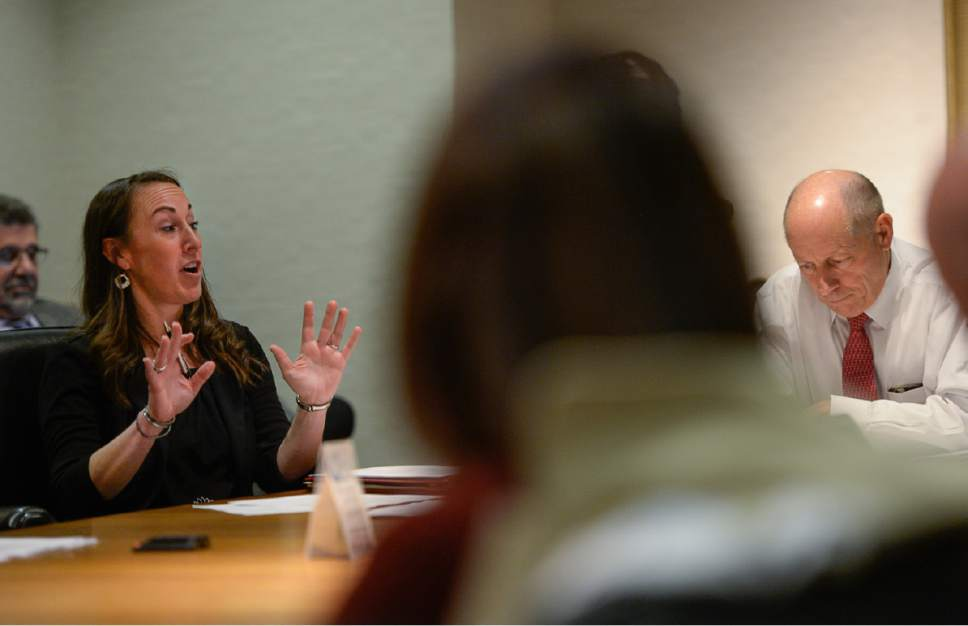Francisco Kjolseth | The Salt Lake Tribune Janell Fluckiger, Executive Director at the private nonprofit Shelter the Homeless Inc., is joined by President of the group Harris Simmons, at right, and other board members, as they meet in downtown Salt Lake City to discuss the future of a local collaboration to reduce homelessness on Thursday, May 18, 2017. .