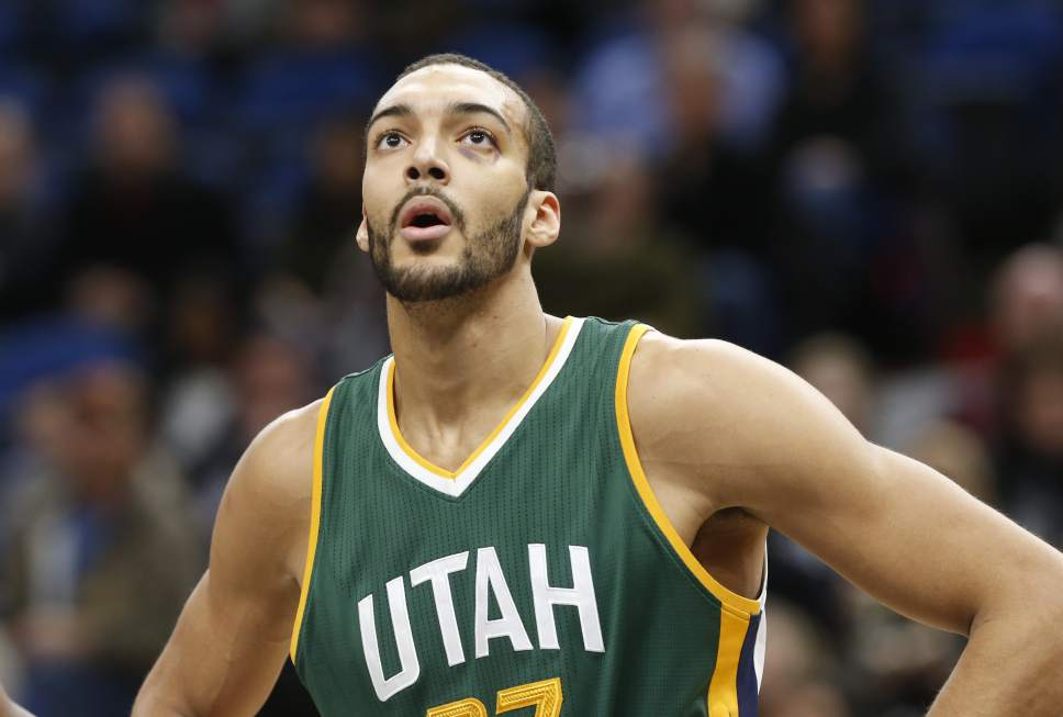 Utah Jazz's Rudy Gobert of France plays against the Minnesota Timberwolves during the first quarter of an NBA basketball game Saturday, Jan. 7, 2017, in Minneapolis. (AP Photo/Jim Mone)