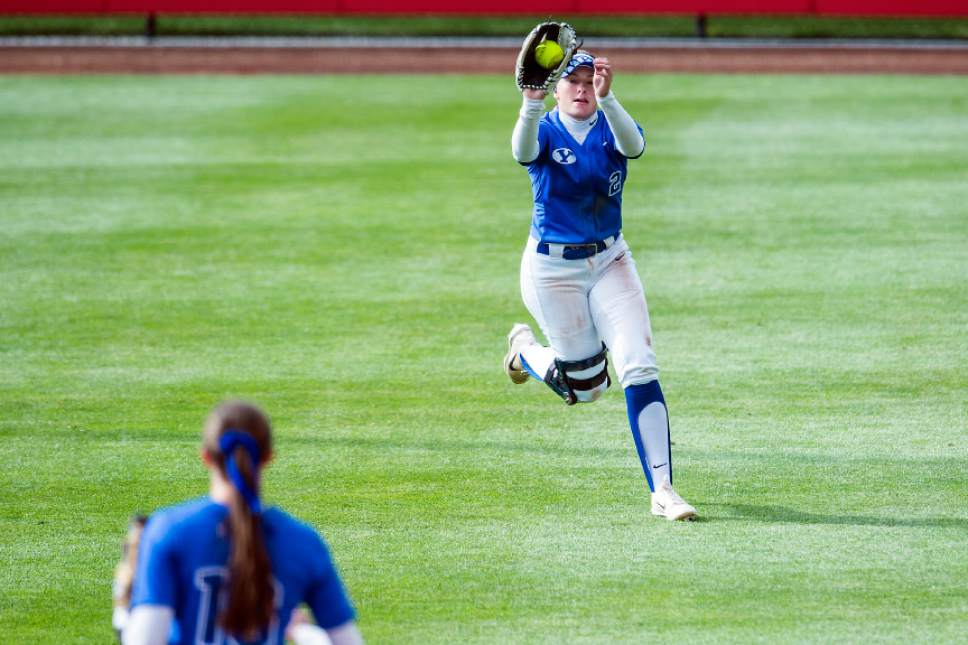 Chris Detrick     The Salt Lake Tribune BYU outfielder Rylee Jensen (2) makes a catch during the NCAA softball regional game at Dumke Family Softball Stadium Thursday, May 18, 2017. BYU defeated Mississippi St. 8-0.