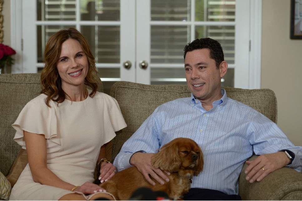"""Leah Hogsten     The Salt Lake Tribune Rep. Jason Chaffetz, seated next to his wife Julie, told members of the media at his home in Alpine during an impromptu press conference that he was leaving Congress to spend more time with his family. Chaffetz announced Thursday May 18, 2017 that he will step down from office June 30. In a letter to constituents, the Utah Republican and chairman of the House Oversight and Government Reform Committee, said he did not want a """"lifetime career"""" in Congress, although it is rumored that he is in talks about a job with Fox News and hasn't ruled out a race for Utah governor in 2020."""