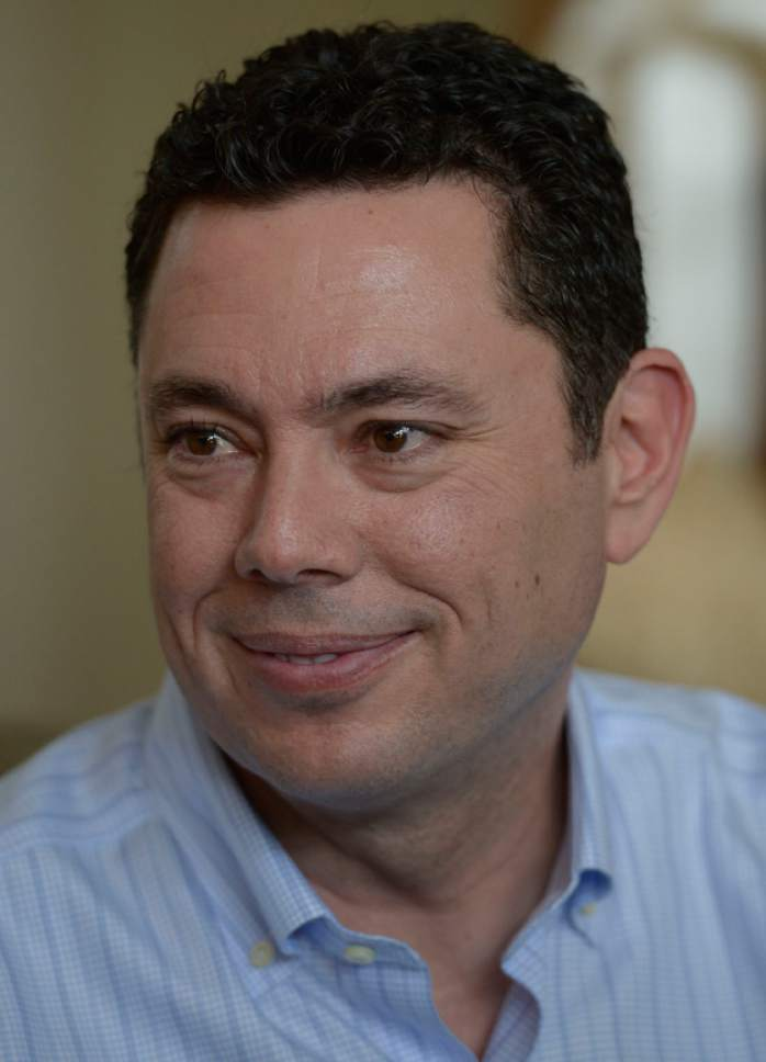 """Leah Hogsten     The Salt Lake Tribune Rep. Jason Chaffetz told members of the media at his home in Alpine during an impromptu press conference that he was leaving Congress to spend more time with his family. Chaffetz announced Thursday May 18, 2017 that he will step down from office June 30. In a letter to constituents, the Utah Republican and chairman of the House Oversight and Government Reform Committee, said he did not want a """"lifetime career"""" in Congress, although it is rumored that he is in talks about a job with Fox News and hasn't ruled out a race for Utah governor in 2020."""
