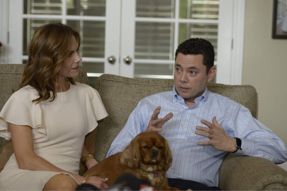 "Leah Hogsten  |  The Salt Lake Tribune Rep. Jason Chaffetz, seated next to his wife Julie, told members of the media at his home in Alpine during an impromptu press conference that he was leaving Congress to spend more time with his family. Chaffetz announced Thursday May 18, 2017 that he will step down from office June 30. In a letter to constituents, the Utah Republican and chairman of the House Oversight and Government Reform Committee, said he did not want a ""lifetime career"" in Congress, although it is rumored that he is in talks about a job with Fox News and hasn't ruled out a race for Utah governor in 2020."