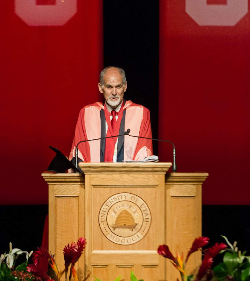 Michael Mangum  |  Special to the Tribune Wyatt R. Hume, Dean of the University of Utah School of Dentistry, speaks during commencement ceremonies for the inaugural class at Kingsbury Hall on Saturday, May 20th, 2017.