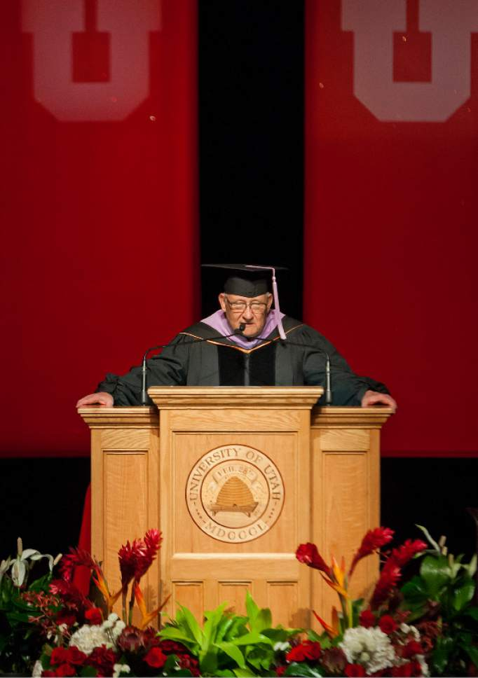 Michael Mangum  |  Special to the Tribune State Sen. Peter C. Knudson speaks during the University of Utah School of Dentistry inaugural commencement ceremonies at Kingsbury Hall on Saturday, May 20th, 2017.