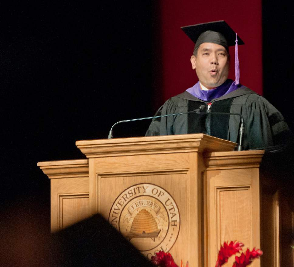 Michael Mangum  |  Special to the Tribune Utah Attorney General Sean D. Reyes delivers the commencement address during the University of Utah School of Dentistry inaugural commencement ceremonies at Kingsbury Hall on Saturday, May 20th, 2017.