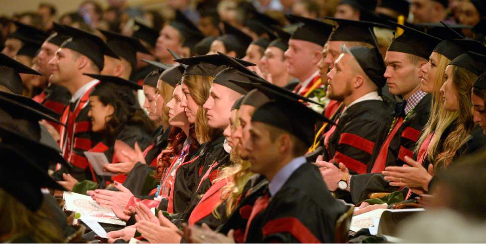 Al Hartmann  |  The Salt Lake Tribune University of Utah School of Medicine graduates attend commencement excercise in Kinsbury Hall Friday May 19.   With 297 students graduating it's the first expanded class size from the passage of Senate Bill 42 in 2013.