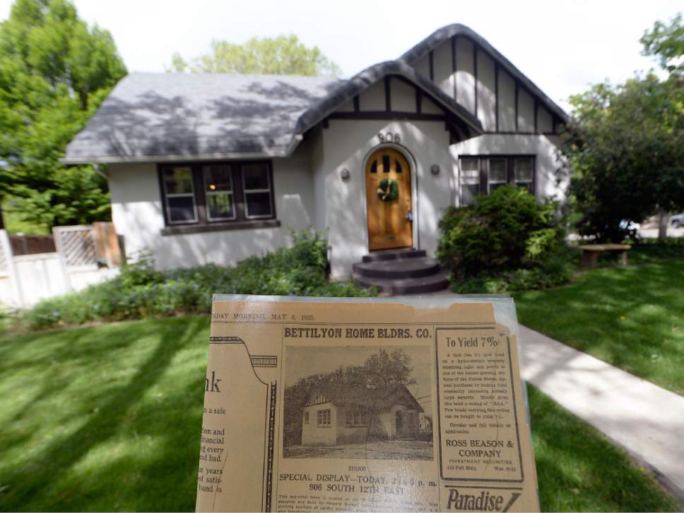 Al Hartmann  |  The Salt Lake Tribune A home for sale in Salt Lake City's Gilmer Park neighborhood, listed at $599,000, once was on the market for $10,500, according to a real-estate ad from a 1923 issue of The Salt Lake Tribune, seen in the foreground.  The real-estate market along the Wasatch Front is booming if you're a seller.  With a low number of listings on the market, homes in desirable neighborhoods are moving quickly.