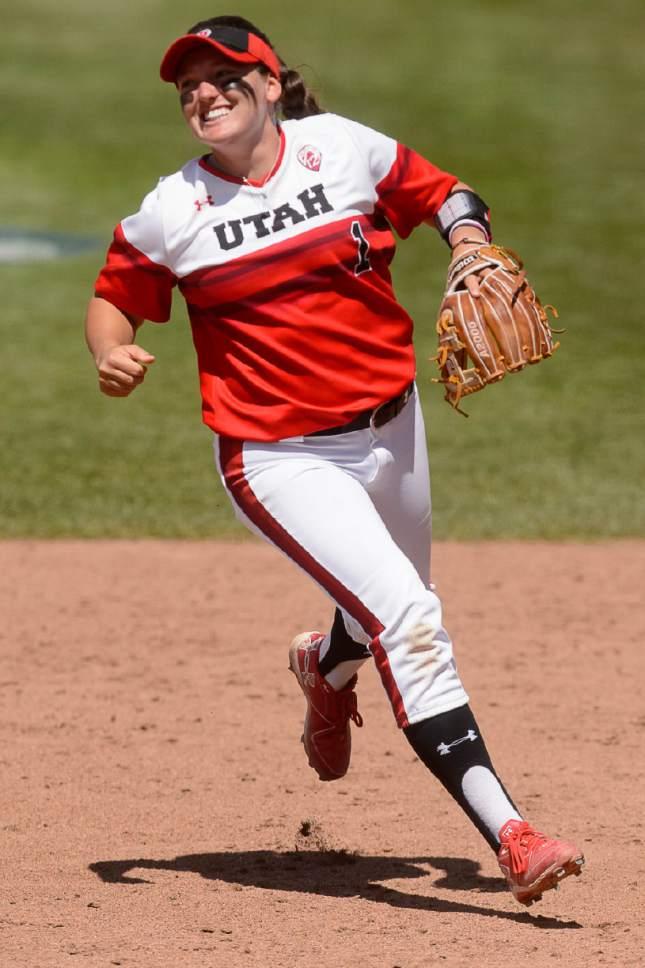 Trent Nelson  |  The Salt Lake Tribune Utah second baseman Hannah Flippen (1) celebrates a double play as Utah faces BYU in the final of the Salt Lake City Regional, NCAA softball at Dumke Family Softball Stadium, Saturday May 20, 2017.