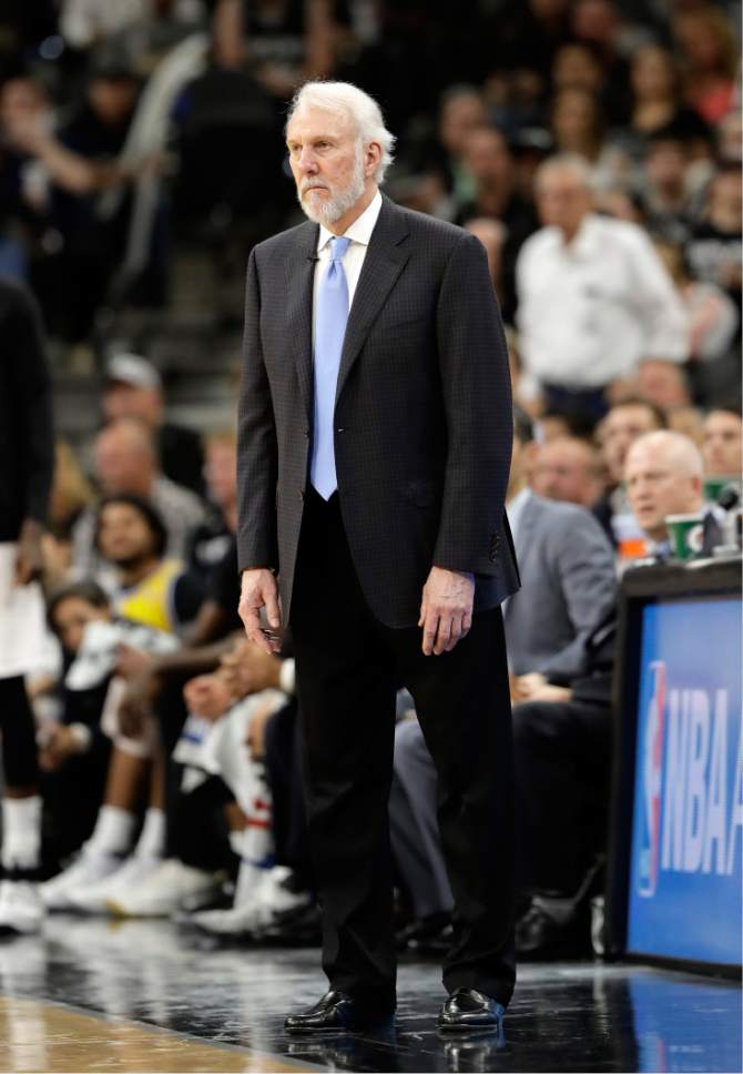 San Antonio Spurs head coach Gregg Popovich watches play against the Golden State Warriors during the second half in Game 4 of the NBA basketball Western Conference finals, Monday, May 22, 2017, in San Antonio. (AP Photo/Eric Gay)