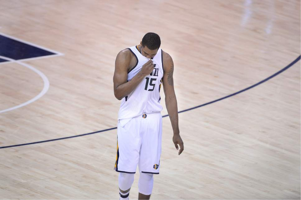 Scott Sommerdorf   The Salt Lake Tribune Utah Jazz forward Derrick Favors (15) walks off the floor after missing two key free throws in the final minute of the game. The LA Clippers won Game 3 of the Western Conference playoff series 111-106, Friday, April 21, 2017.