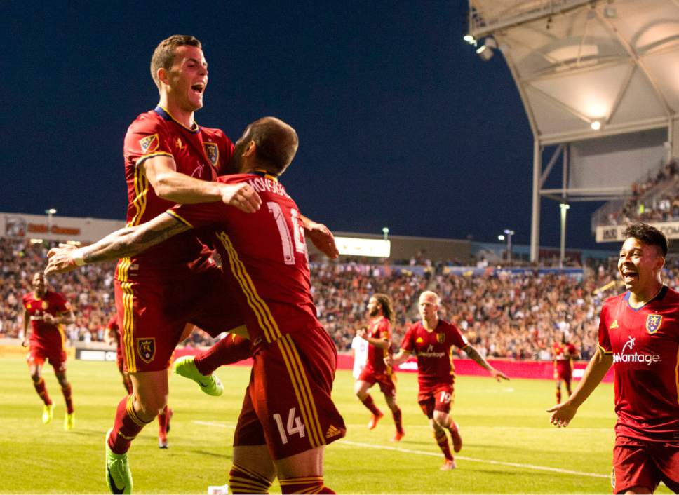 Rick Egan  |  The Salt Lake Tribune  Brooks Lennon (27) celebrates Real forward Yura Movsisyan (14) after Movsisyan  scored for Real Salt Lake, in MLS action Real Salt Lake vs. Los Angeles Galaxy at Rio Tinto Stadium, Saturday, March 18, 2017.