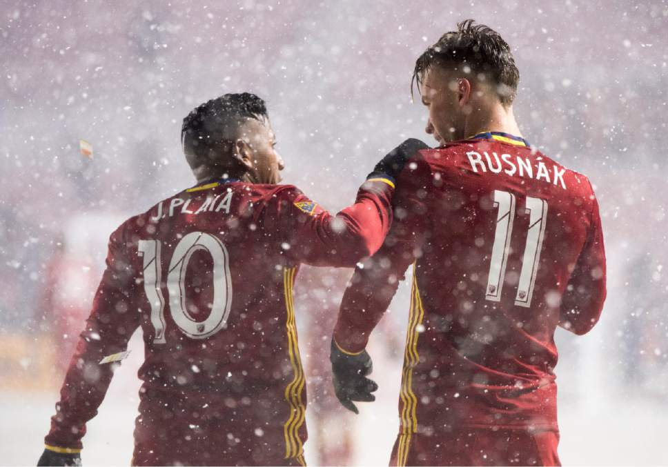 Rick Egan  |  The Salt Lake Tribune  Real Salt Lake midfielder Albert Rusnak (11) gets s hug from Real Salt Lake forward Joao Plata (10) after he scored a second period goal, in RSL action at Rio Tinto Stadium, Saturday, April 8, 2017.