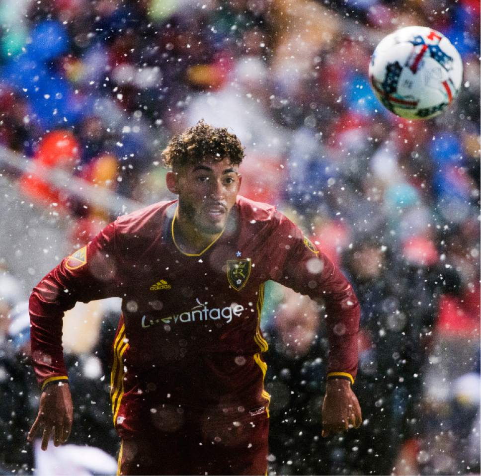 Rick Egan  |  The Salt Lake Tribune  Midfielder Danilo Acosta (25) tosses the ball inbounds for Real Salt Lake, in MLS action, at Rio Tinto Stadium, Saturday, April 8, 2017.