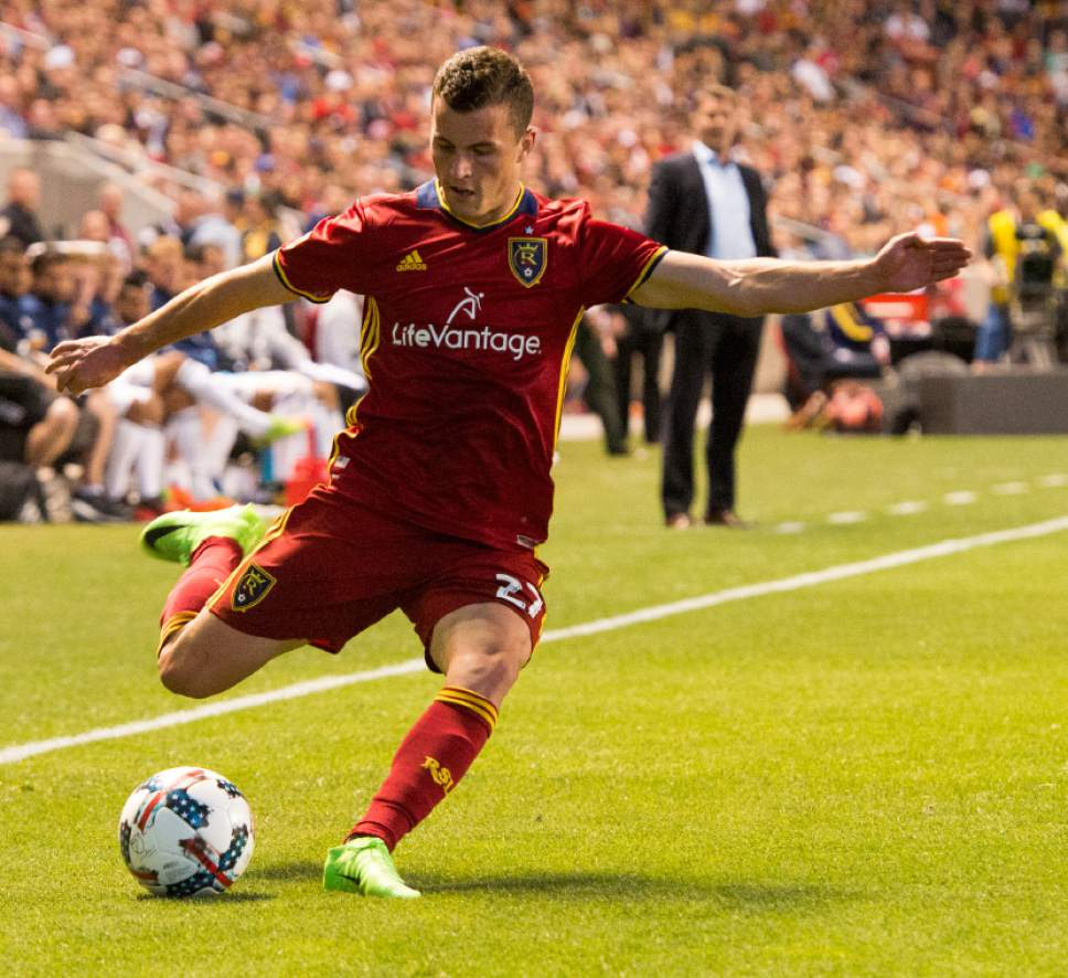 Rick Egan  |  The Salt Lake Tribune  Real Salt Lake forward Brooks Lennon (27) in MLS action Real Salt Lake vs. Los Angeles Galaxy at Rio Tinto Stadium, Saturday, March 18, 2017.