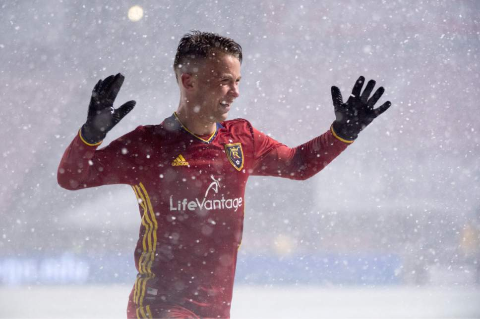 Rick Egan  |  The Salt Lake Tribune  Real Salt Lake midfielder Albert Rusnak (11) celebrates his second period goal, in RSL action at Rio Tinto Stadium, Saturday, April 8, 2017.