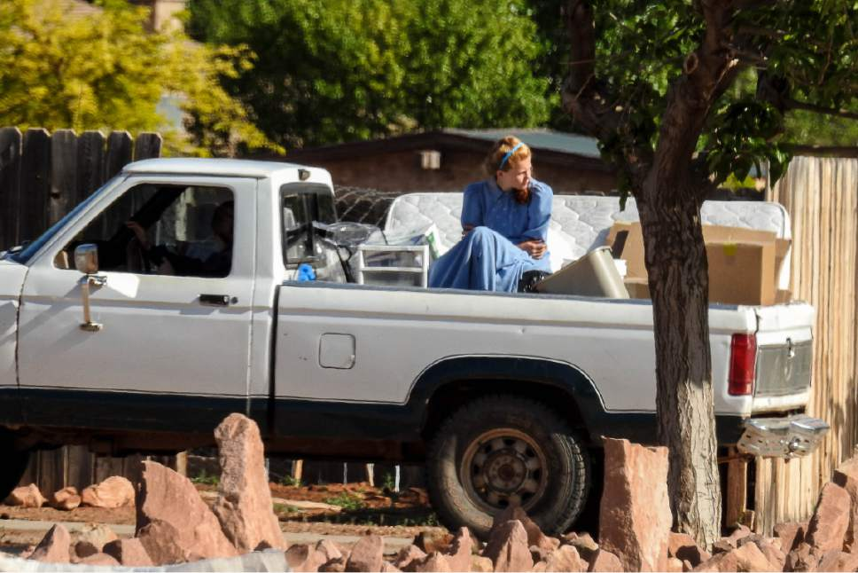 Trent Nelson  |  The Salt Lake Tribune Facing a looming eviction from a UEP Trust home in Colorado City, Ariz., FLDS women move some of their belongings, Monday May 8, 2017.