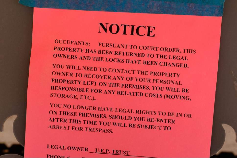 Trent Nelson  |  The Salt Lake Tribune UEP Trust eviction notice on a property in Colorado City, Ariz., Monday May 1, 2017.