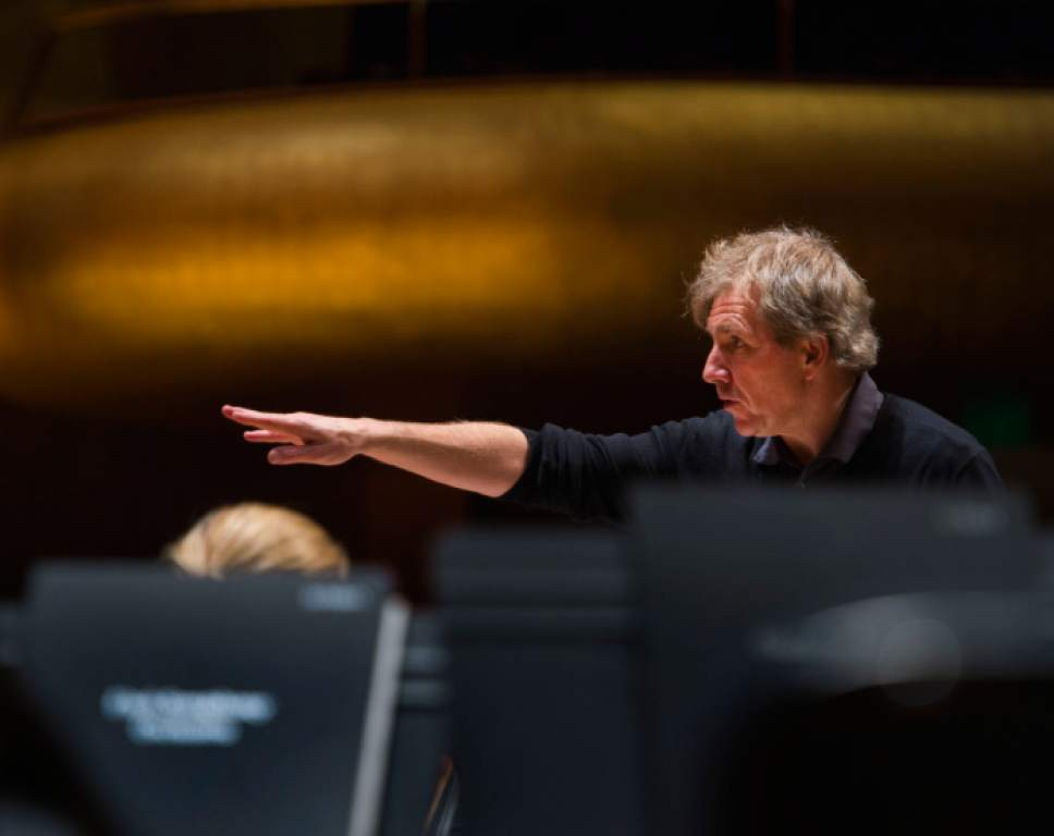 Steve Griffin  |  Tribune file photo Thierry Fischer leads members of the Utah Symphony in rehearsal for a 2016 NOVA Chamber Music Series concert. Fischer, who was hired as the orchestra's music director in 2009, has agreed to continue in that position through the 2021-22 season.