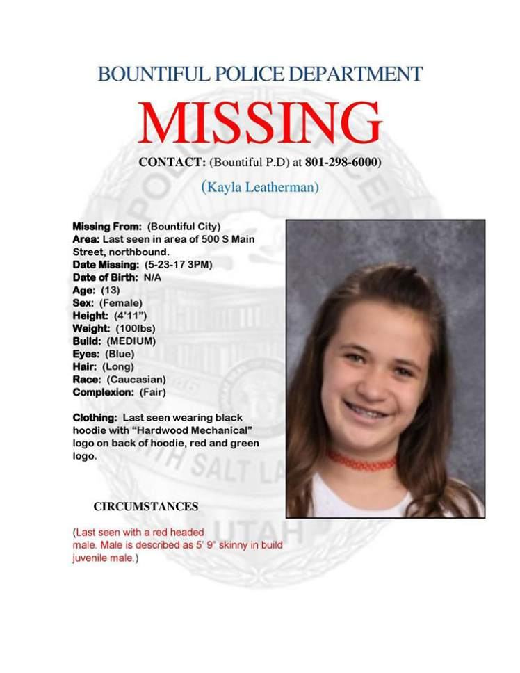 Missing 13 Year Old Boy: Bountiful Police Search For Missing 13-year-old Girl