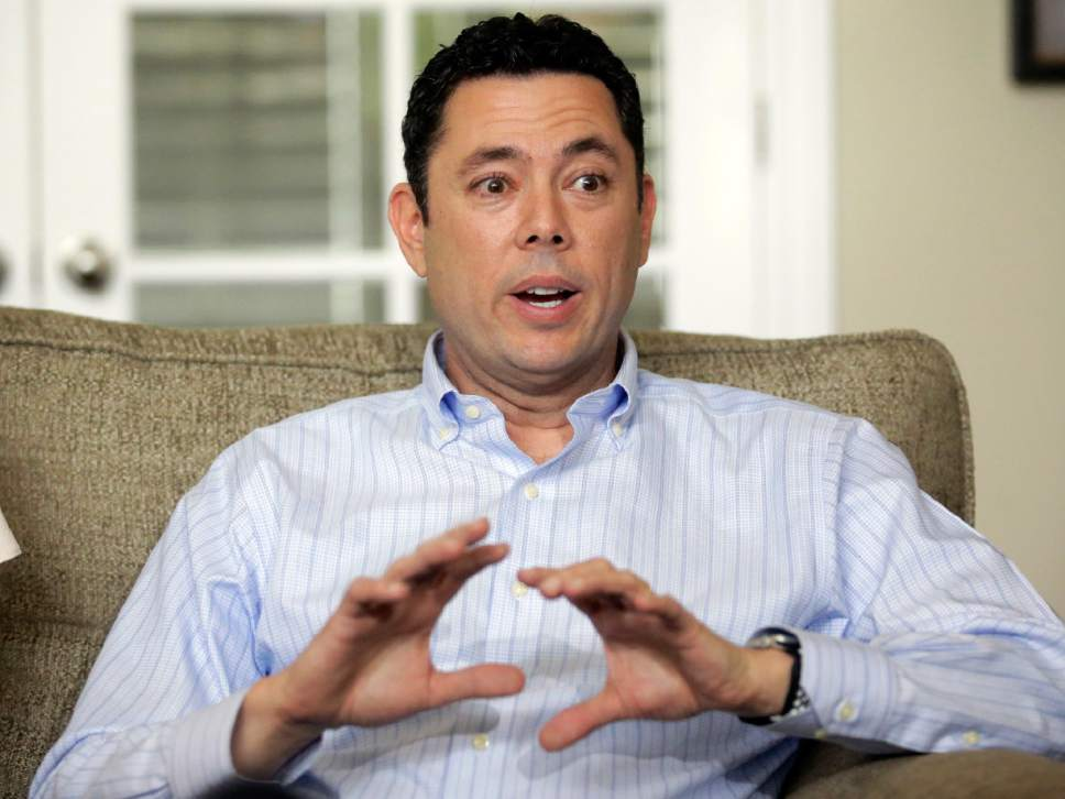 FILE - In this May 18, 2017 file photo, U.S. Rep. Jason Chaffetz speaks with reporters at his home in Alpine, Utah. Chaffetz, a five-term Republican, says he doesn't feel compelled to talk about what he may do after leaving Congress next month. But he told The Associated Press on Tuesday, May 23, 2017, that the business -- Strawberry C-- may become a reincarnation of his former public relations and marketing firm.  (AP Photo/Rick Bowmer)