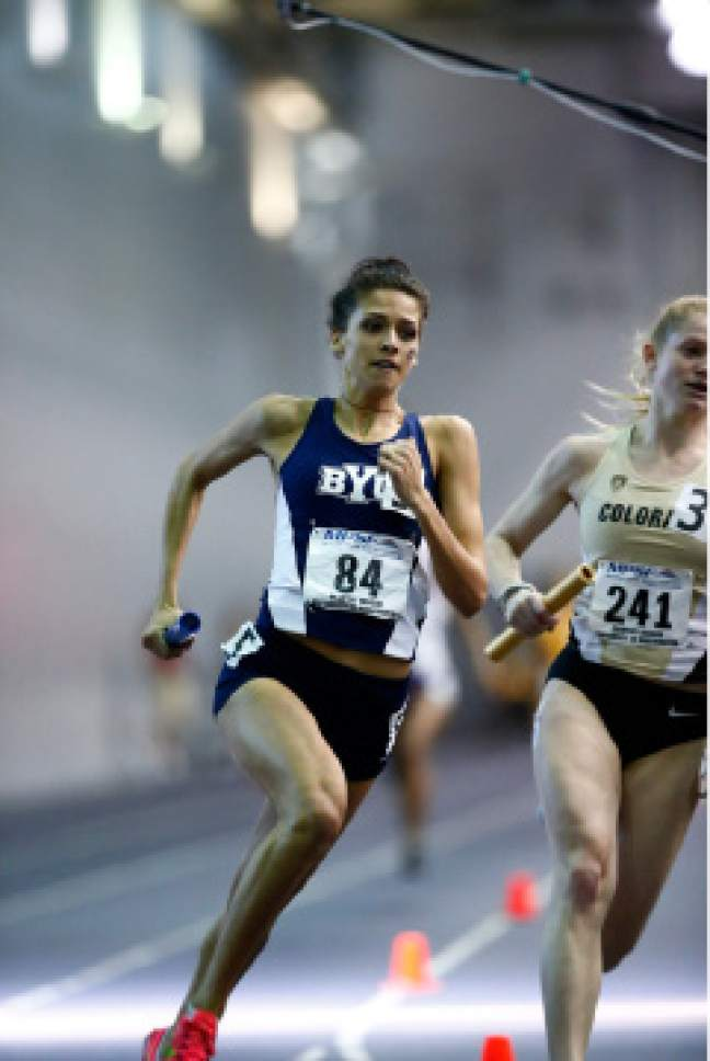 Jaren Wilkey  |  BYU Photo  BYU women's track star Shea Collinsworth competing at the MPSF Indoor Track and Field Conference Championships Hosted by the University of Washington, February 26, 2016.