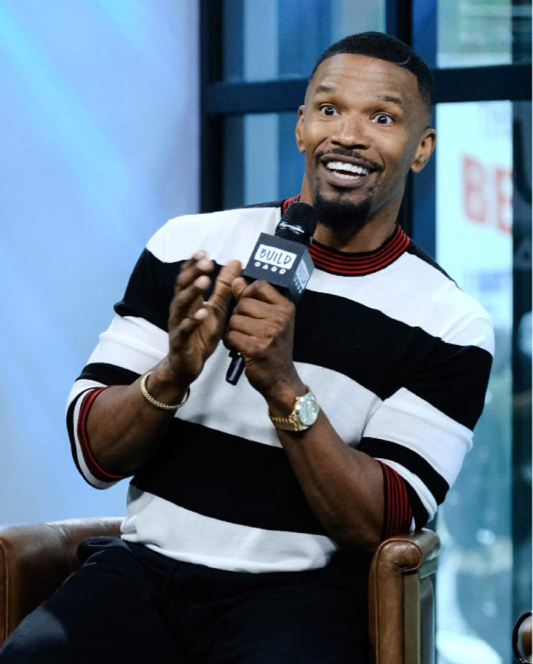 """Actor Jamie Foxx participates in the BUILD Speaker Series at AOL Studios to discuss the game show, """"Beat Shazam"""", on Tuesday, May 23, 2017, in New York. (Photo by Evan Agostini/Invision/AP)"""