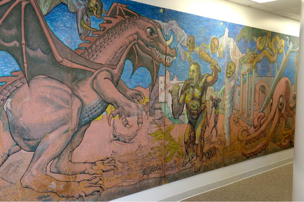 Leah Hogsten  |  The Salt Lake Tribune  From 1967 to 2010, visitors to Lagoon passed by this massive hand-painted mural painted by Bill Tracy, at the entrance of Lagoon's Terroride. The mural's characters included a dragon and an ape in a stand-off, a giant octopus and eery-looking flying skeletons. The mural was moved to Lagoon's corporate office in an effort to preserve the original work. The newly copied and painted mural will debut summer 2017.