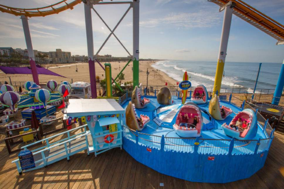 Courtesy photo  Pacific Park's new Shark Frenzy takes a new spin on the classic Tilt-a-Whirl. The 2-acre amusement park is on the Santa Monica Pier in Southern California.