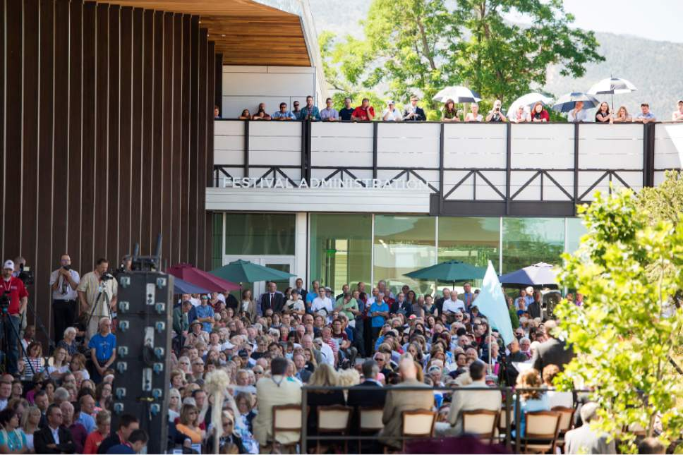 Rick Egan  |  The Salt Lake Tribune  More than 700 people gather for the ribbon-cutting of the Beverley Taylor Sorenson Center for the Arts, which includes the new Southern Utah Museum of Art and two new Utah Shakespeare Festival theaters,Cedar City, Thursday, July 7, 2016.