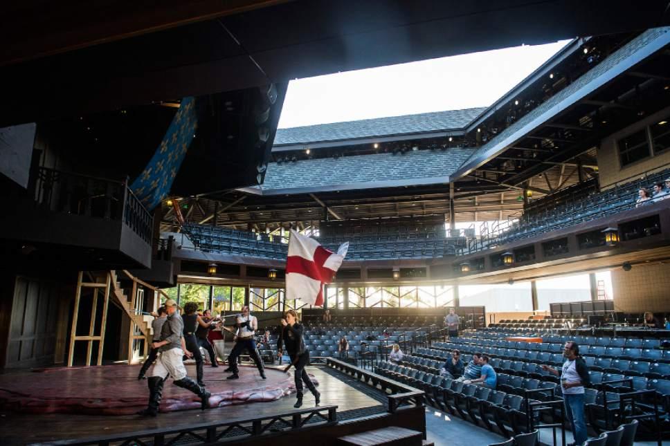 Chris Detrick  |  The Salt Lake Tribune Actors rehearse Utah Shakespeare Festival's 'Henry V' in the new Engelstad Shakespeare Theatre in Cedar City on Thursday, June 16, 2016.