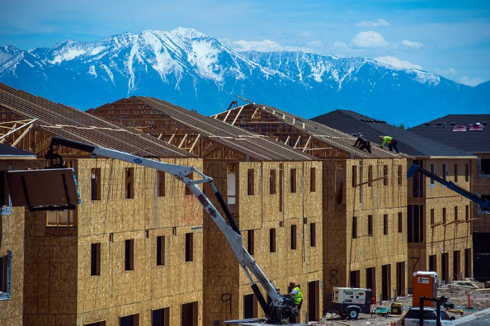 Chris Detrick  |  The Salt Lake Tribune Construction continues on new buildings in Vineyard City Tuesday, May 23, 2017.