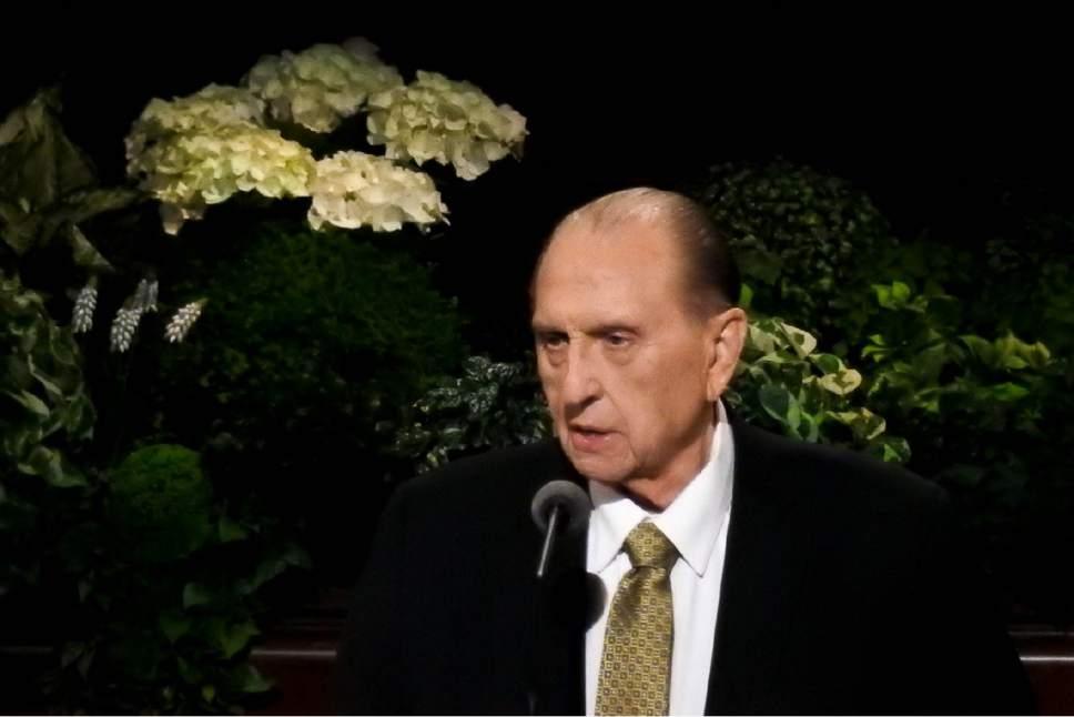 Trent Nelson     The Salt lake Tribune  Thomas S. Monson speaks during General Conference on April 2, 2017.