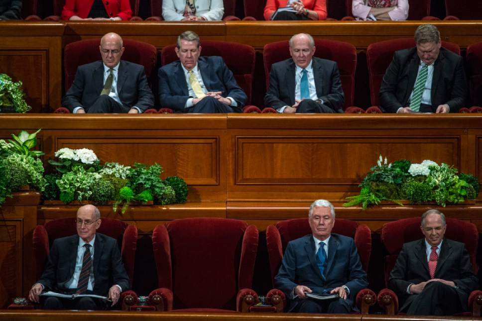 Chris Detrick  |  The Salt Lake Tribune President Thomas S. Monson's empty seat during the afternoon session of the 187th Annual General Conference at the Conference Center in Salt Lake City Saturday, April 1, 2017.