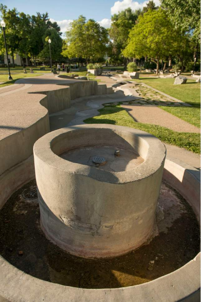 Leah Hogsten  |  The Salt Lake Tribune Liberty Park's Seven Canyons fountain will not be operational for 2017.
