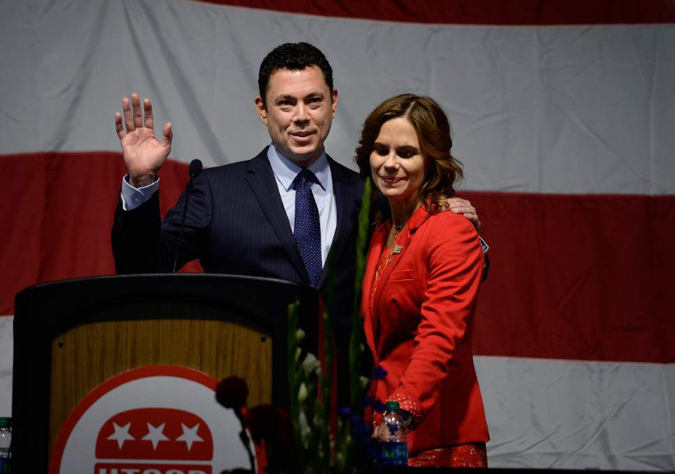 Scott Sommerdorf | The Salt Lake Tribune U.S. Rep. Jason Chaffetz with his wife Julie at his side speaks at the Utah Republican Party Organizing Convention, Saturday, May 19, 2017.